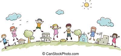 gyerekek, stickman, közösség