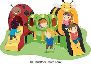 gyerekek, stickman, rovar, ábra, játszótér