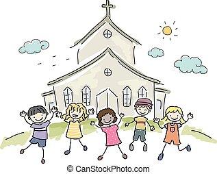 gyerekek, stickman, templom