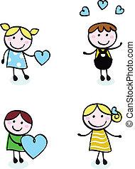 gyerekek, szeret, öltés, ikonok, szórakozottan firkálgat, elszigetelt, retro, fehér