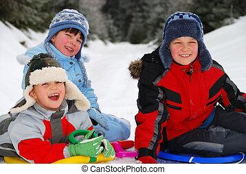 gyerekek, tél, portré