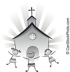gyerekek, templom