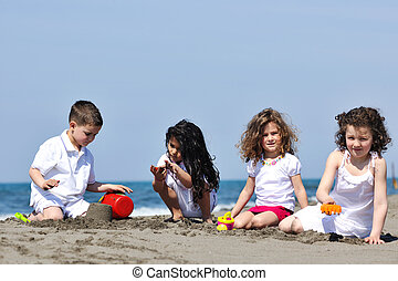 gyerekek, tengerpart, játék
