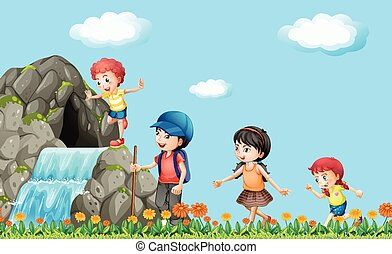 gyerekek, természetjárás, képben látható, a, vízesés
