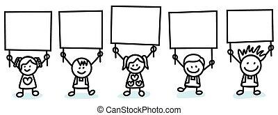 gyerekek, transzparens, birtok