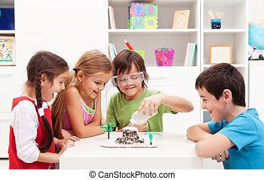 gyerekek, tudomány labor, terv, otthon, megünnepel