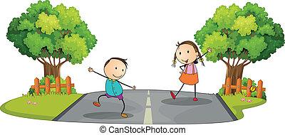 gyerekek, utca, két, játék