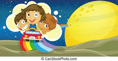 gyerekek, vezetés, autó