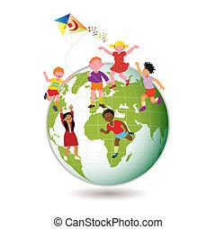 gyerekek, világ, mindenfelé