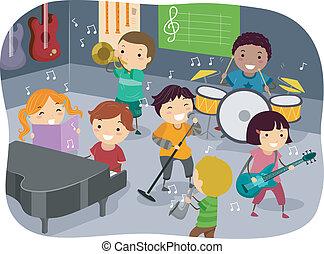 gyerekek, zene hely