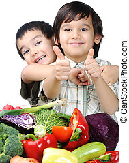 gyermek, és, friss növényi