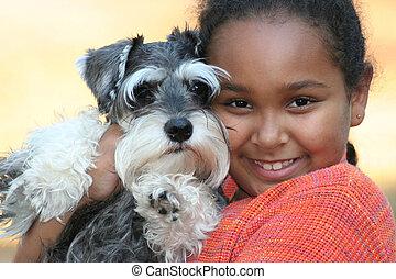 gyermek, és, kedvenc, kutyus