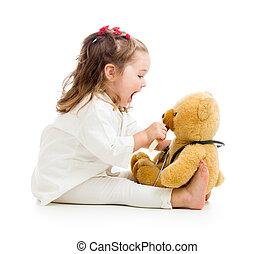 gyermek, öltözött, mint, orvos, játék, noha, játékszer