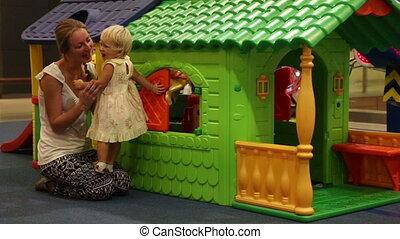 gyermek, bánik, noha, anya, -ban, színes, apró épület