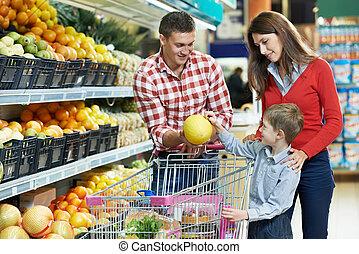 gyermek, bevásárlás, család, gyümölcs