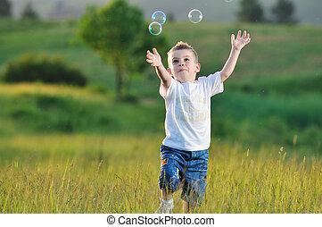 gyermek, buborék