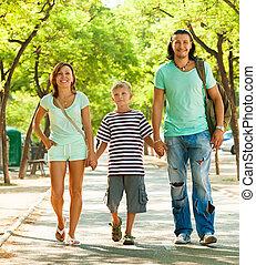 gyermek, család, három, tizenéves