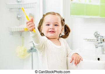 gyermek, csalit fog, alatt, fürdőszoba