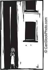 gyermek, egyedül, alatt, fasor