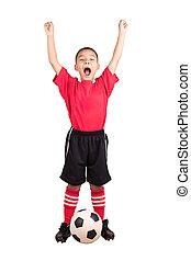 gyermek, futball játékos