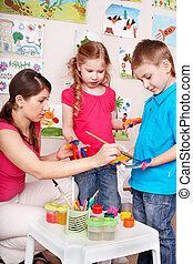 gyermek, gyártás, handprints.