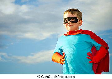 gyermek, igénylés, fordíts, lenni, egy, superhero