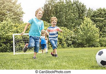 gyermek, játék, futball, együtt