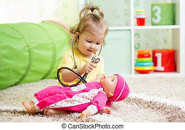 gyermek, játékszer, játék, orvos