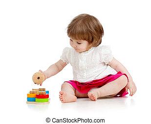 gyermek, leány, játék, noha, educational apró