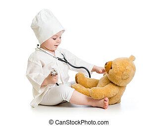 gyermek, leány, játék, orvos, noha, játékszer