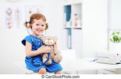 gyermek, leány, játék, orvos, noha, mackó