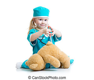 gyermek, leány, noha, öltözék, közül, orvos, játék, játékszer
