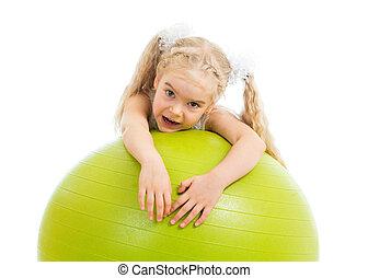 gyermek, leány, noha, gymnastic labda, elszigetelt