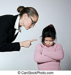 gyermek, nő, probléma, konfliktus, dipute