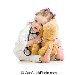 gyermek, noha, öltözék, közül, orvos, játék, játékszer