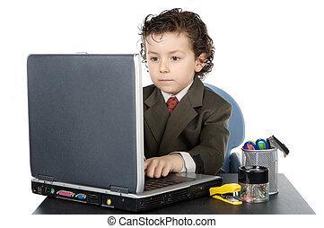 gyermek, noha, számítógép