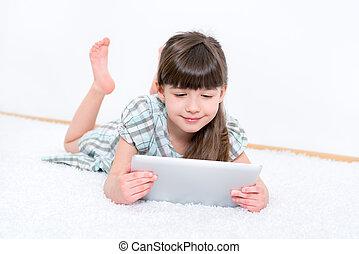 gyermek, noha, tabletta, számítógép