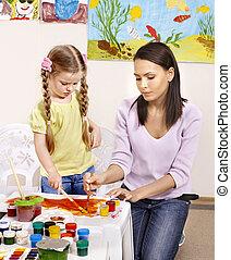 gyermek, noha, tanár, painting.