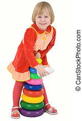 gyermek, piros, ruha, noha, játékszer
