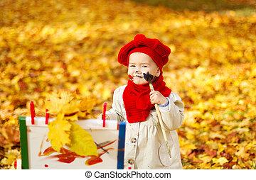 gyermek, rajz, képben látható, festőállvány, alatt, ősz, park., kreatív, gyerekek, kialakulás