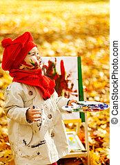 gyermek, rajz, képben látható, festőállvány, alatt, ősz, park., kreatív, gyerekek, kialakulás, concept.