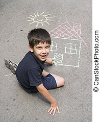 gyermek, rajz, nap, és, épület, képben látható, asphal