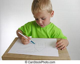 gyermek, rajzol, otthon