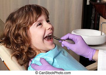 gyermek, türelmes, -ban, a, fogász