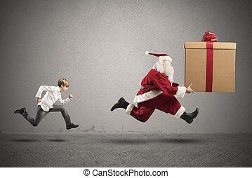 gyermek, wants, egy, ajándék, alapján, mikulás