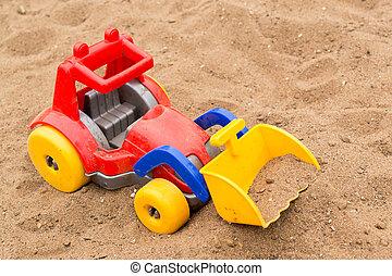 gyermekek, fényes, műanyag, földmunkás, játékszer