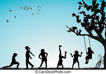 gyermekek játék, alatt, egy, liget
