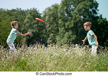 gyermekek játék, frisbee