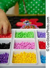 gyermekek játék, noha, játékszer, gyöngy