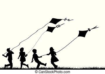 gyermekek játék, noha, papírsárkány